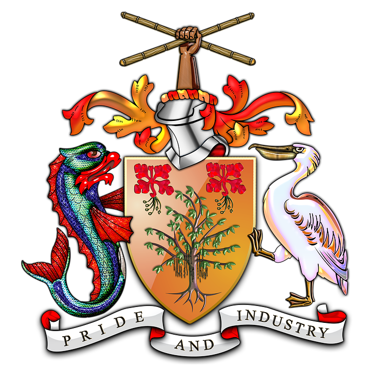 Barbados Flag And Coat Of Arms
