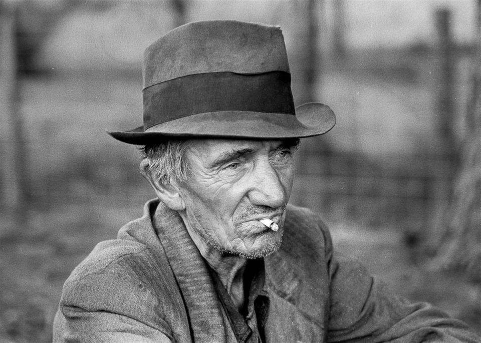 free photo old man hat poor smoking farmer free image on