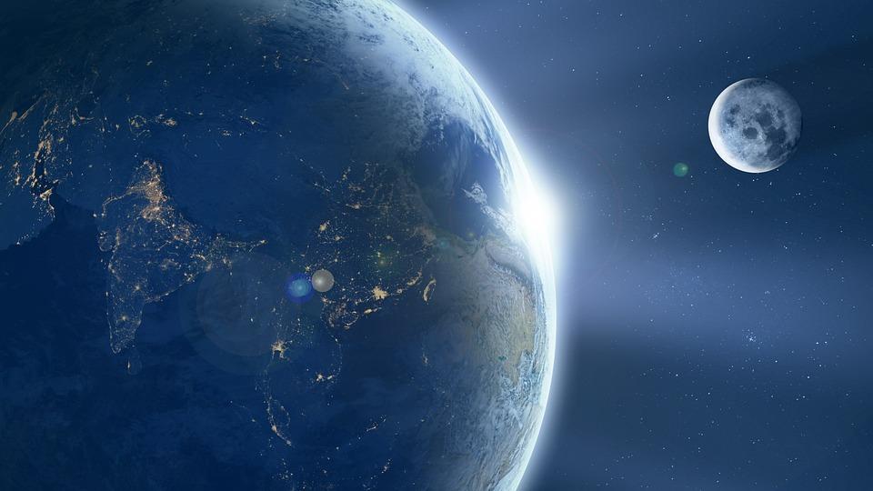 La Tierra, Luna, Ache, Sunrise, Espacio, Universo