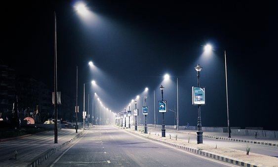 Streetlight, Night, City, Street, Light