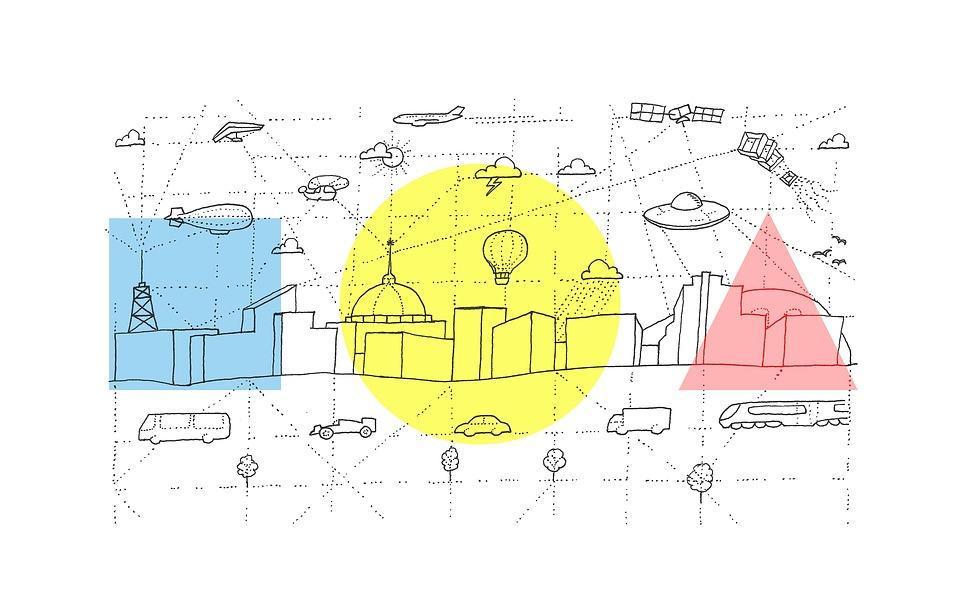 Miejskich, City, Skyline, Szkic, Transportu, Pojazdu