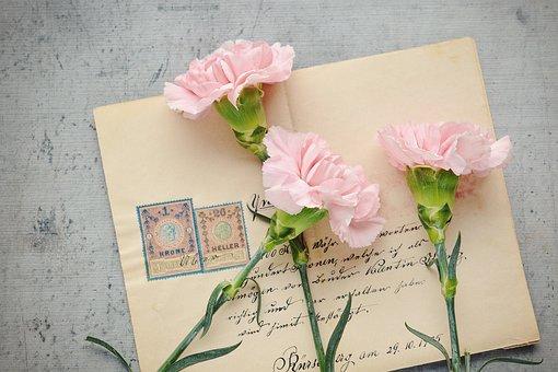 手紙, 封筒, 花, スタンプ, 手書き, 手書きの手紙, 古い, アンティーク