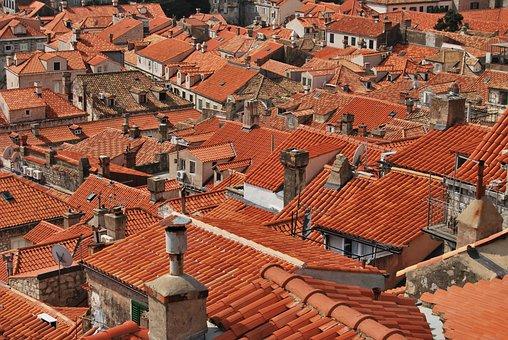 屋根, 屋根瓦, 赤, ドブロヴニク, 屋根の上, タイル, クロアチア, 町