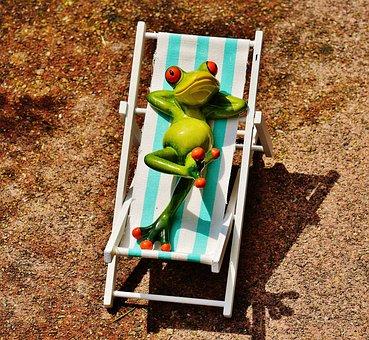 Leżak, Plaży, Żaba, Lato, Sun