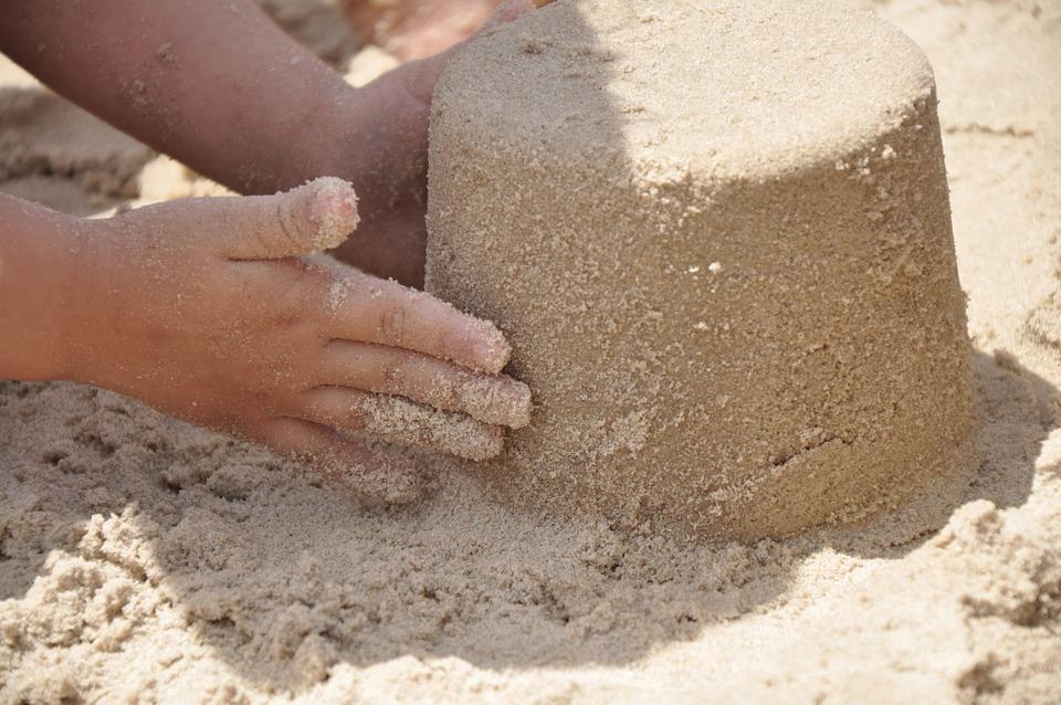 Sand, Hand, Strand, Sommer, Urlaub, Im Freien, Jung