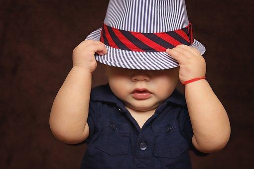 赤ちゃん, 少年, 帽子, カバー, 目, 子, 男の赤ちゃん, 子ども