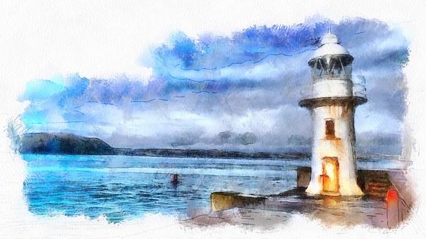 Brixham, Lighthouse, Seaside