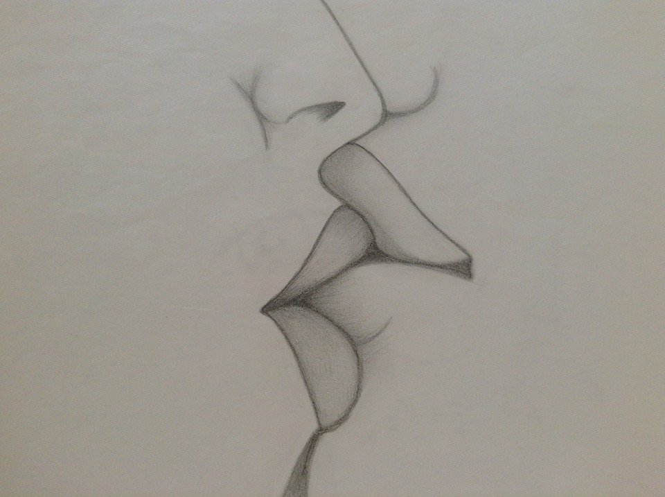 Kiss love drawing pencil art paper
