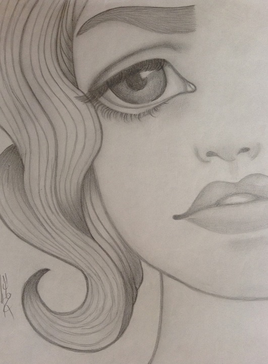 Girl sad drawing pencil art paper