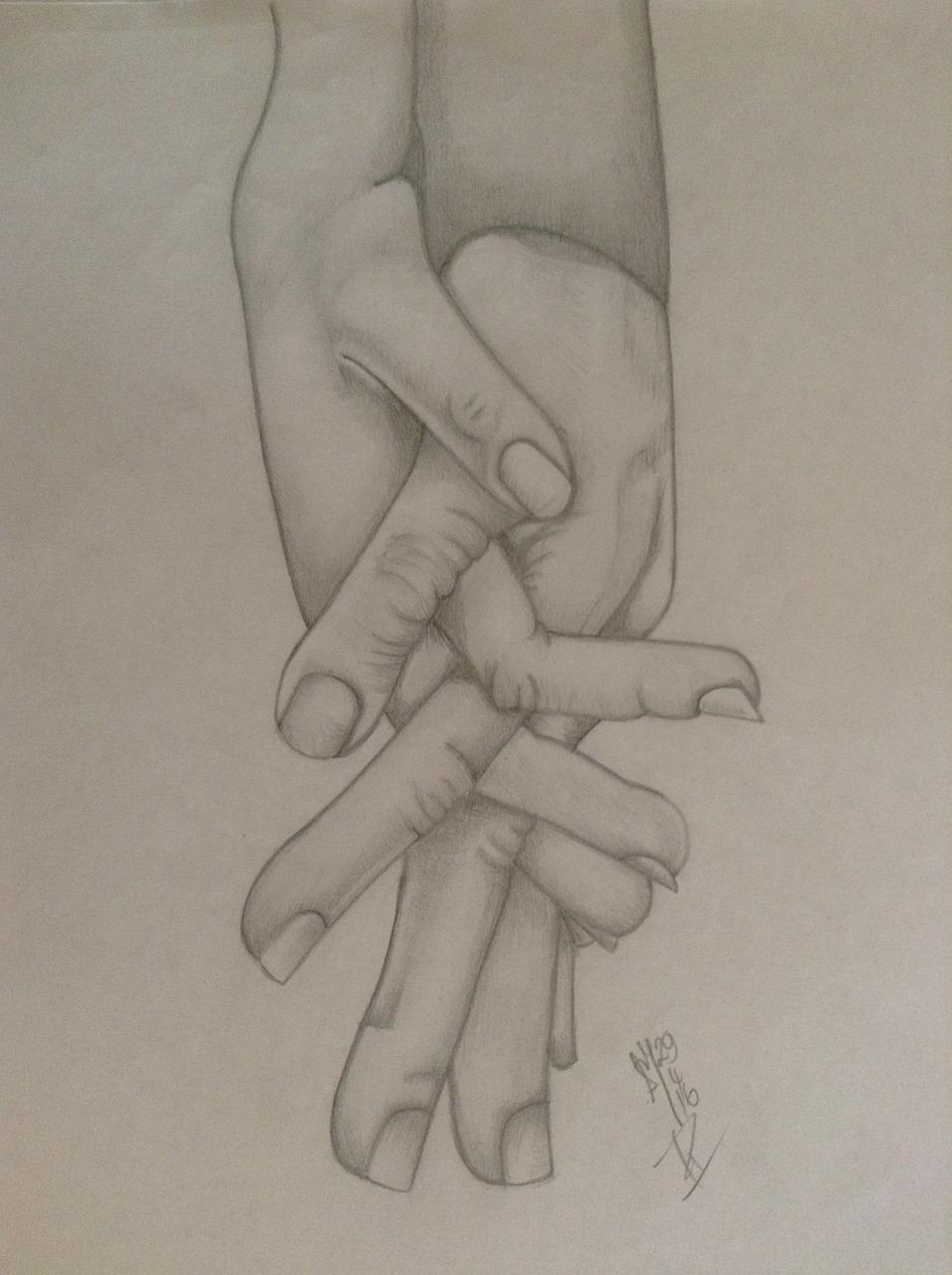 Рисунок рука в руке карандашом фото