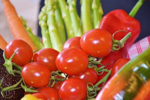 トマト, 赤, 野菜, アスパラガス, ネギ, レモン, パプリカ