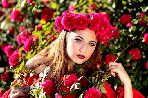 Girl, Roses, Red, Wreath, Flowers