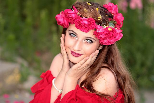 Free Photo: Girl, Flowers, Wreath, Green Eyes