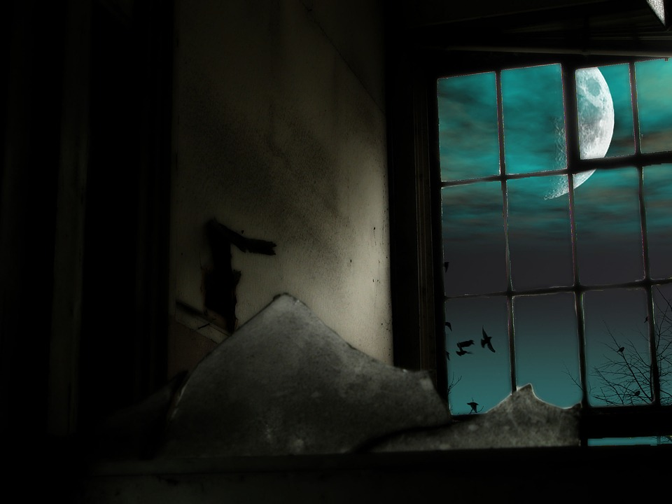 Moon, Window, Broken, Background, Old, Night, Spooky
