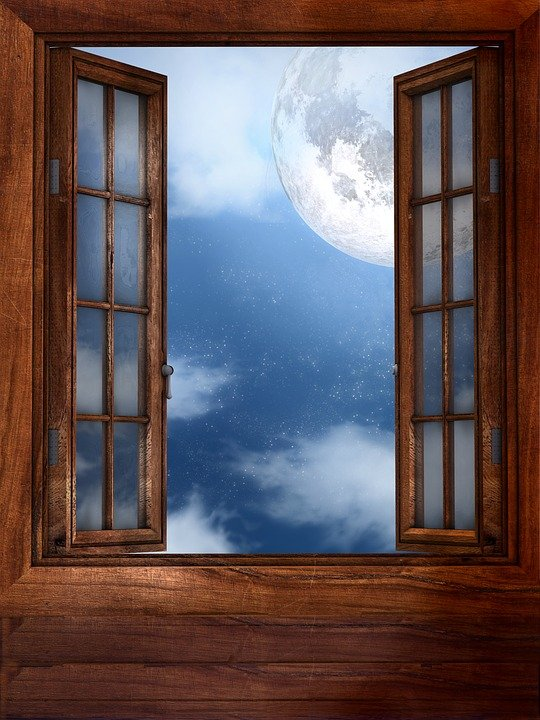 Illustration gratuite fen tre lune fen tre ouverte for Fenetre windows
