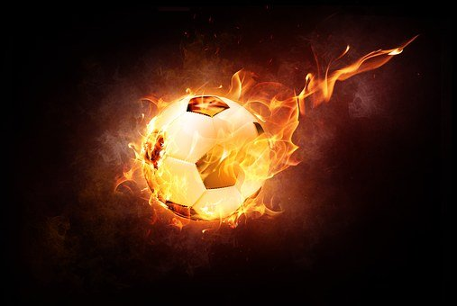 Football, Ball, Sport, Leather, Fire