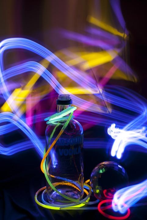 Party, Neon, Bottle, Lights, Movement