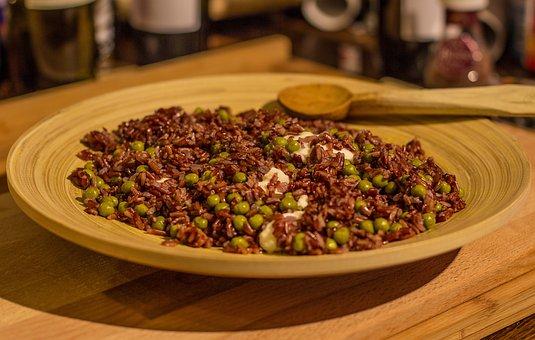 米, リゾット, モッツァレラ, 玄米, 赤米, 竹, 料理, 木材, スプーン