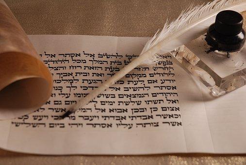 Pergaminho, Pena, Tinta, Caligrafia, Hebraico