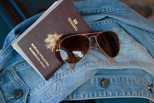 旅行, パスポート, 休日, 税関, サングラス
