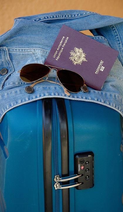 Suitcase, Departure, Travel, Passport, Sunglasses