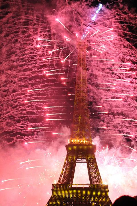 Eiffel Tower, Fireworks, Paris, Monument, Architecture