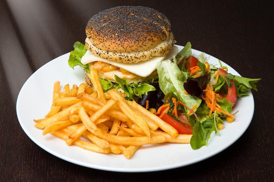 Hamburger, Food, Burger, French Fries, Salad, Fast Food
