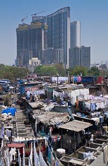 Laundry, Slum, India, Mumbai, Cityscape
