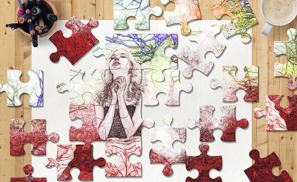 Puzzle Sketch Colors Woman Office Coffee