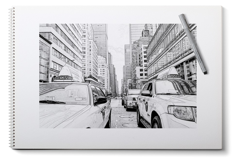 New york painting pencil sketch plan taxi
