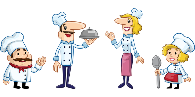 Drawing shwoing a short fat chef, a slim tall one holding food and 2 women of similar heights, the last one holding a spoon