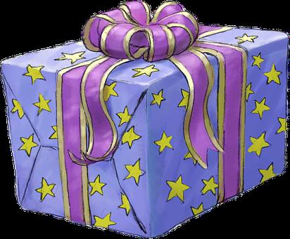 Present, Gift, Purple, Lilac, Stars