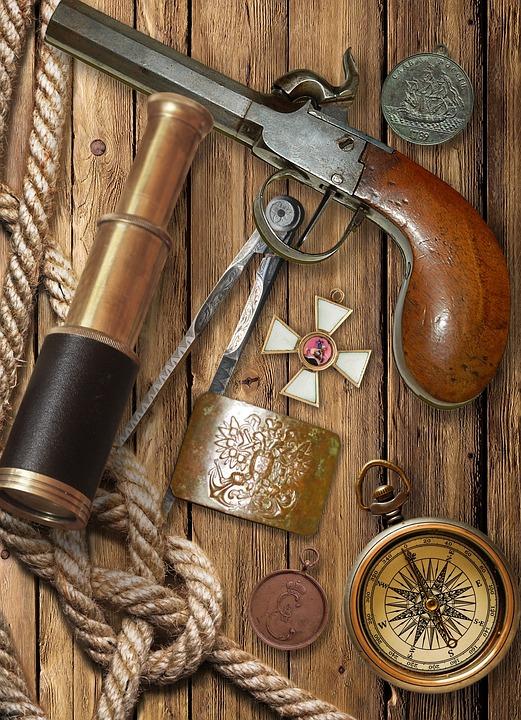Кремневый Пистолет, Подзорная Труба, Компас, Орден