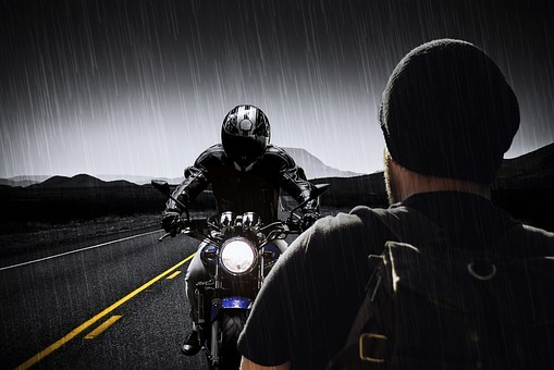 Man, Machine, Motorcycle, Helmet, Road