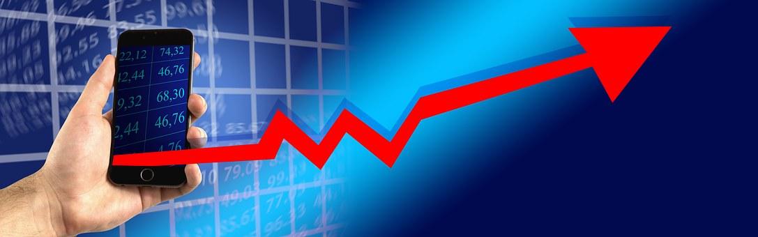 携帯電話, スマート フォン, 証券取引所, お支払い, 経済, 金融