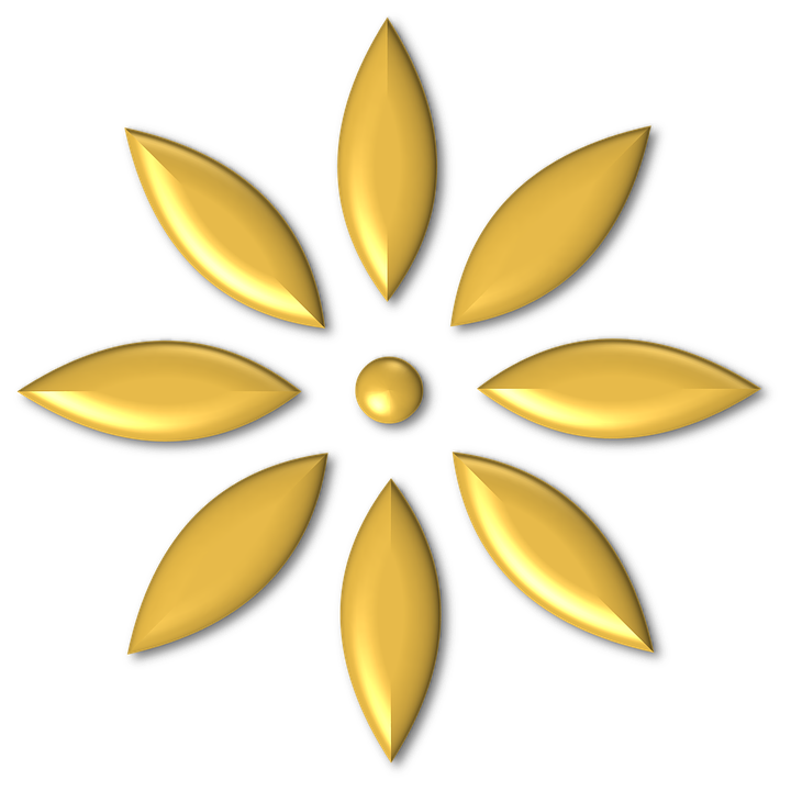 Gold Metal Shiny Flower Ornament Glossy Yellow