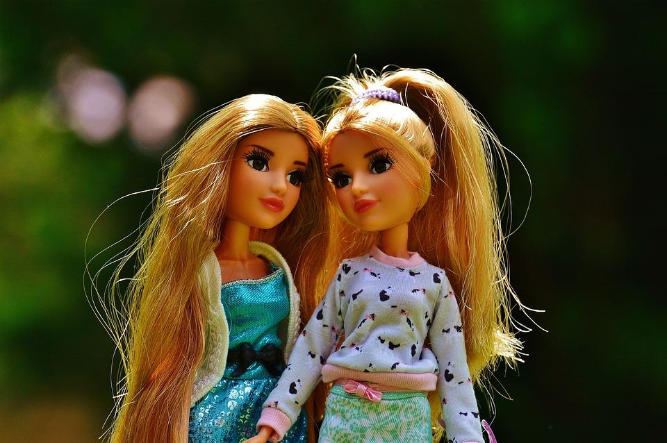双子, 女の子, 女性, 若い, 顔, ダブル, 美容室, 女らしさ, 人間, もちろんです, 人形, かなり