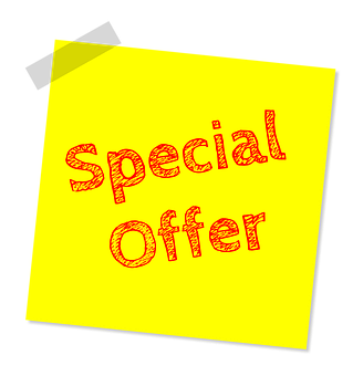 Special offer written in red on a yellow sticker held on a board at its top left hand corner with a sellotape