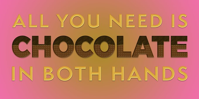 Bright violet image with words All you need is chocolate in both hands for 301 inspirational and motivational quotes