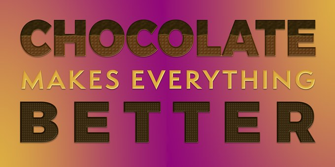 Violet and yellow imagewith words Chocolate makes everythign better for 301 inspirational and motivational quotes
