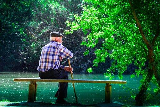 Ältere, Meditierend Sein Leben