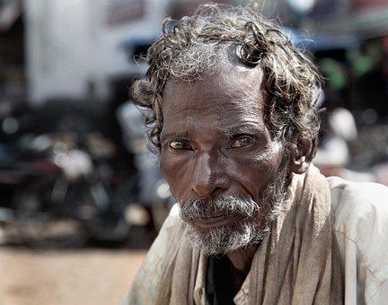 乞丐, 印度, 老, 可怜, 街, 无家可归, 人, 男, 绝望, 男子, 肖像