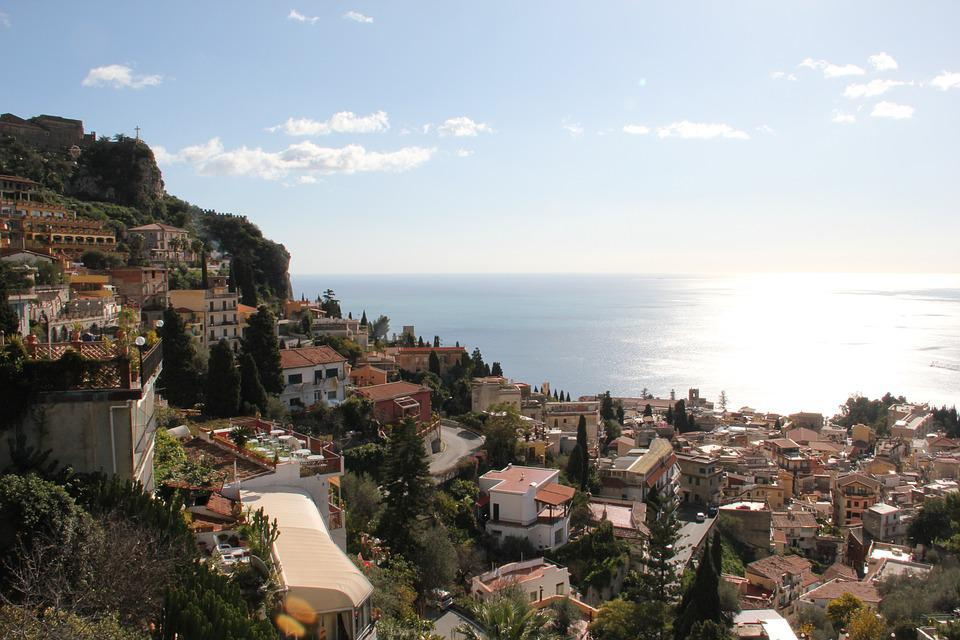 Stadt, Taormina, Sizilien, Ansicht, Italien, Strand