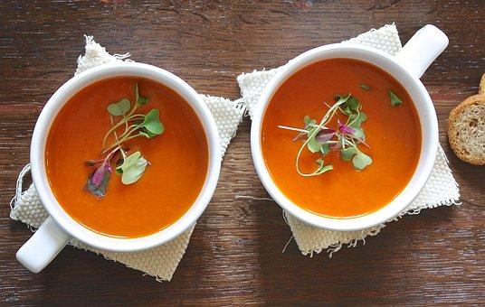 スープ, トマト, 健康, 自家製, 菜食主義者, 昼食, 新鮮な, 前菜, 皿