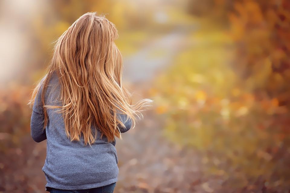 Girl, Run, Race, Long Hair, Autumn, Fall Color, Away