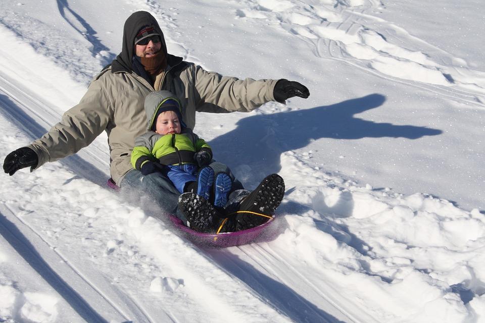 Sledding, Winter, Father, Son, Snow, Downhill, Movement