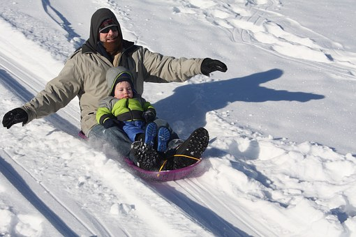 Sledding, Winter, Father, Son, Snow