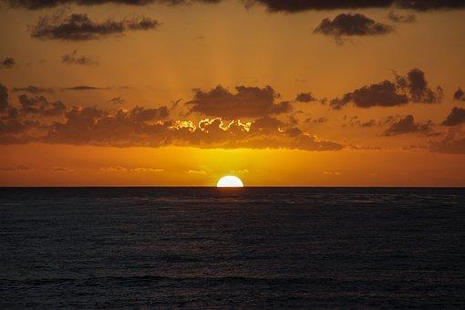 サンディエゴ, 日没, 太陽, 海景, カリフォルニア州, 海, 水, ビーチ