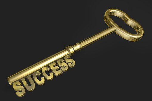 Success Key Gold Gold Colored Three Dimens