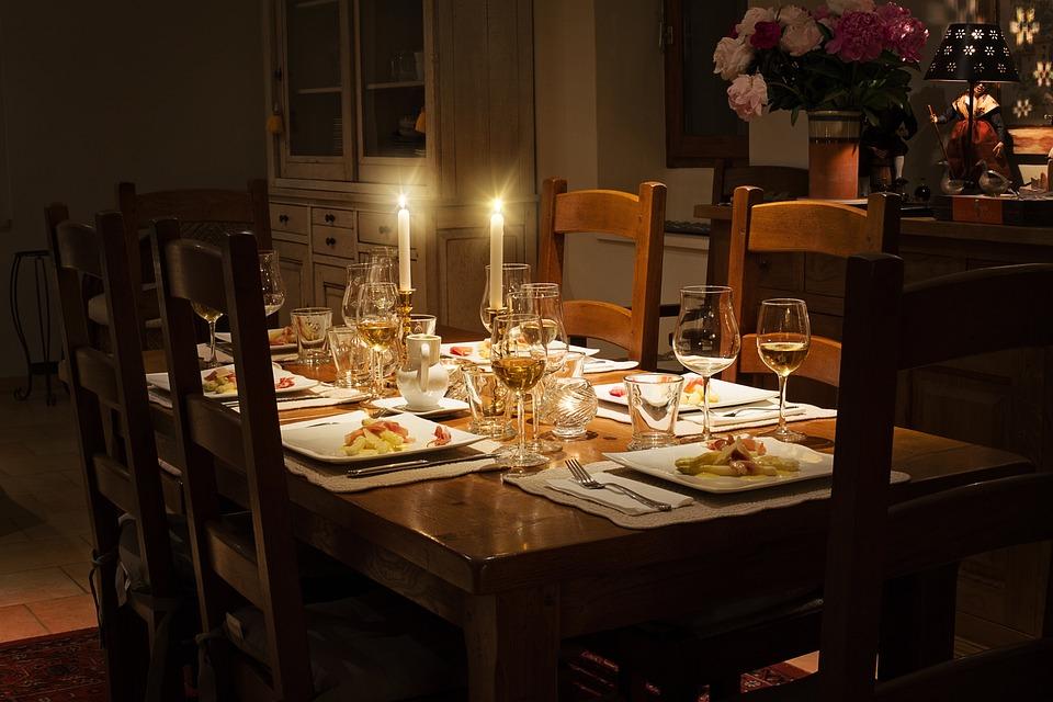 夕食, テーブル, ホーム, 設定, 祝賀, エレガント, プレート, インテリア, ダイニング, 食器